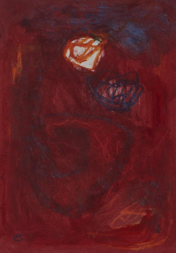 Mohnrot - Öl auf Papier, 20x30, 2017
